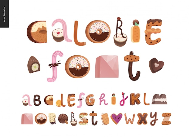 Dessert verleiding lettertype alfabet