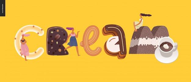 Dessert verleiding lettertype banner