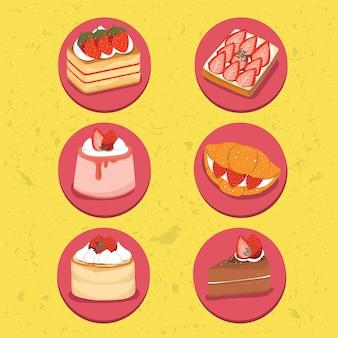 Dessertcake aardbeien pannenkoek chocoladepudding croissants roomgebakje zoet