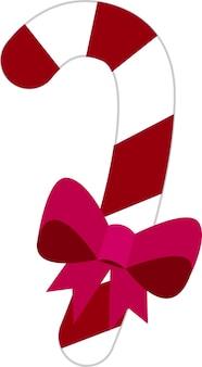 Dessertpictogram in een vlakke stijl op een witte achtergrond een lollystok met een roze boog