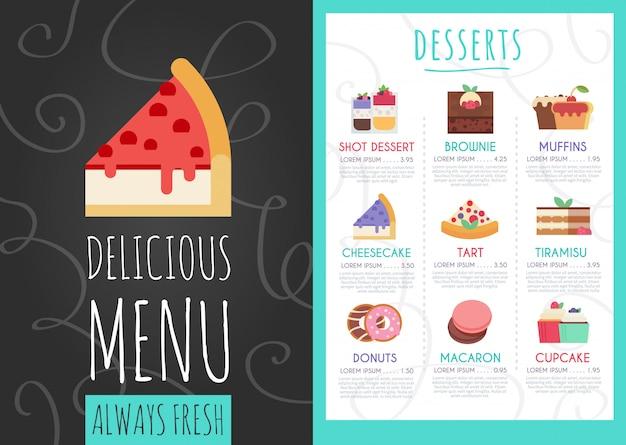 Desserts café menu.