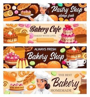 Desserts, cakes en bakkerijbanners. bak bagels en broodjes, vers gebakken zoete dessert donut, croissant en stokbrood, krakeling en cupcake.
