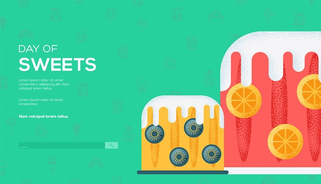 Desserts concept flyer, webbanner, ui header, ga naar de site. korreltextuur en ruiseffect.