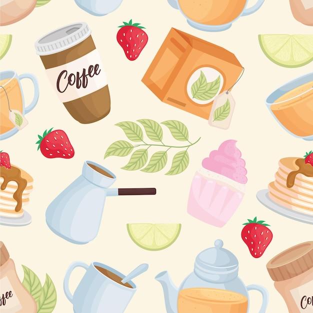 Desserts en drankjes patroon pictogrammen