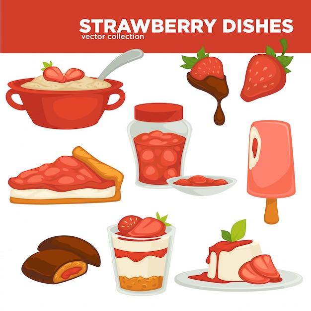 Desserts gemaakt met aardbeien