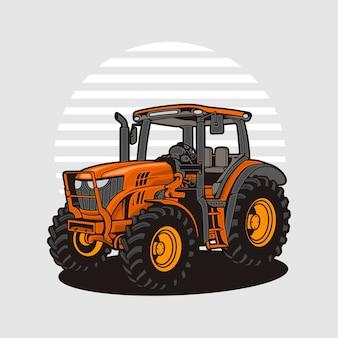 Detail van moderne oranje tractor Premium Vector