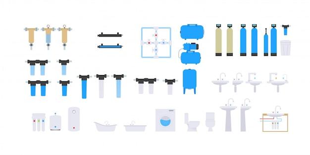 Detail voor het schema van watervoorziening en zuivering van water uit de put