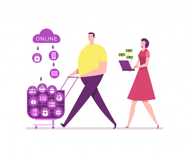 Detailhandel en online winkelen. jong koppel winkelen vector cartoon platte illustratie. e-commerce concept illustratie.