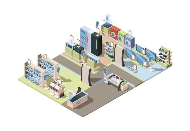 Detailhandel in elektronica. isometrische winkel interieur met apparaten hardware tabletten pc elektrische techniek vector. illustratie retail interieur, vector isometrische supermarkt