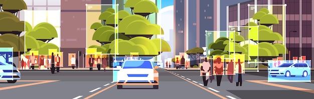 Detectie en identificatie van mensen en auto's op stadsstraten gezichtsherkenning ai analyseert big data Premium Vector