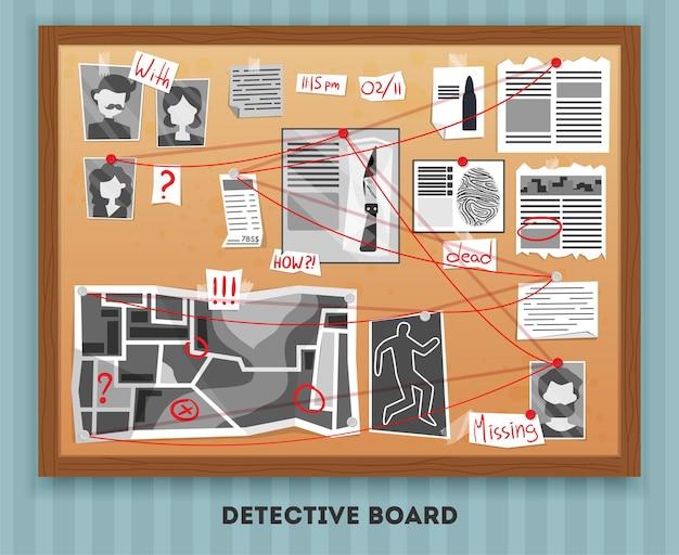 Detective board illustratie
