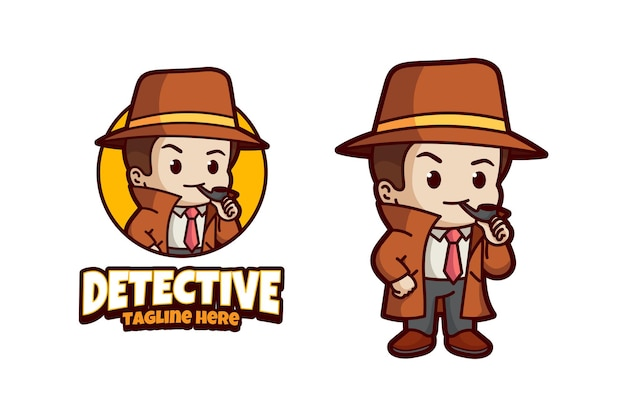 Detective cartoon mascotte logo