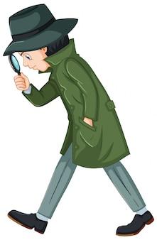 Detective in groene overjas met vergrootglas