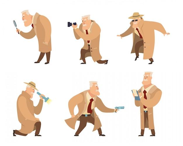 Detective in verschillende actie houding.