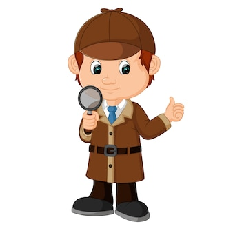 Detective jongen cartoon met vergrootglas