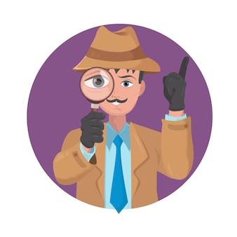 Detective kijkt door vergrootglas
