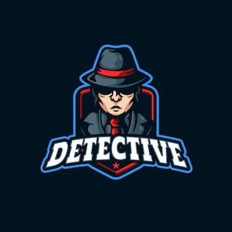 Detective mascotte logo ontwerp badge