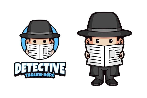 Detective mascotte logo ontwerp geïsoleerde achtergrond