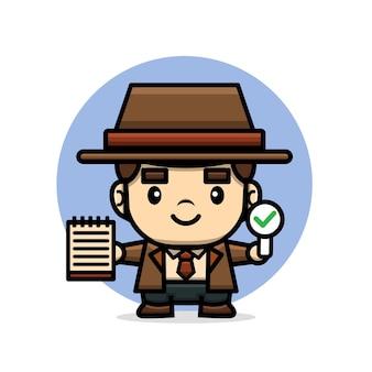 Detective met een boek en teken