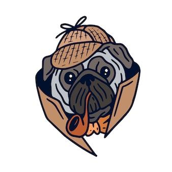 Detective pug hond-illustraties