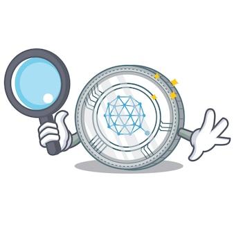 Detective qtum coin character cartoon