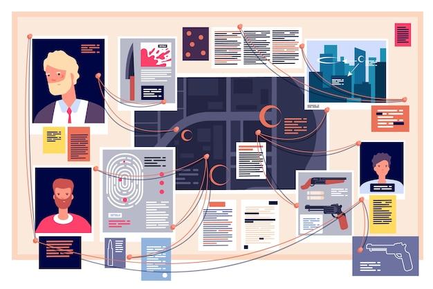 Detectivebord. onderzoeksdashboard met vastgezette foto's, kranten en notitie. detectives bewijs, onderzoeksschema