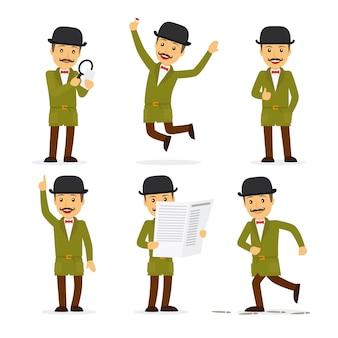 Detectivekarakter in verschillende poses