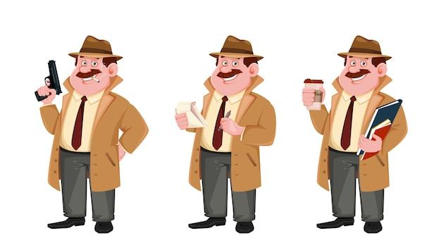 Detectivekarakter maakt aantekeningen. onderzoeker