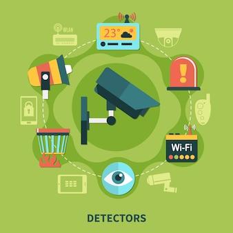Detectoren voor huisbeveiliging ronde compositie met brandwaarschuwing, bewakingssysteem op groene achtergrond plat