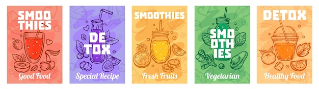 Detox smoothie poster. goed eten smoothies, sappen voor een gezonde levensstijl en kleurrijke verse sappen illustratie set.