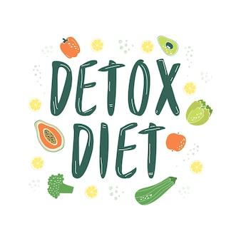 Detoxdieet omringd door groenten en fruit. het concept van het reinigen van het lichaam.