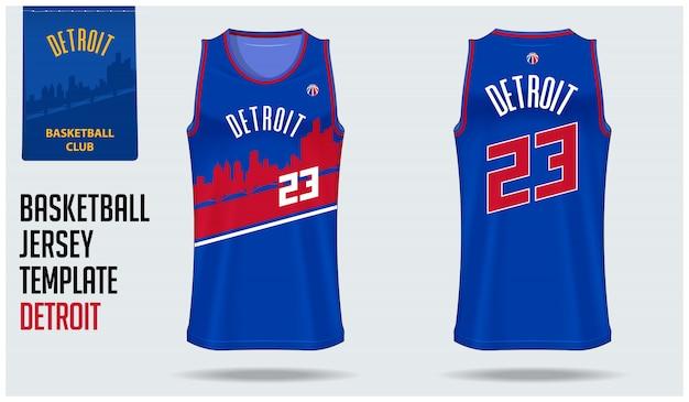 Detroit basketbal jersey sjabloonontwerp
