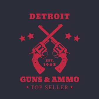 Detroit kanonnen en munitieteken, embleem met twee revolvers, rood op donker, vectorillustratie