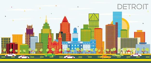Detroit michigan city skyline met kleur gebouwen en blauwe lucht. vectorillustratie. zakelijk reizen en toerisme concept met moderne architectuur. detroit stadsgezicht met monumenten.