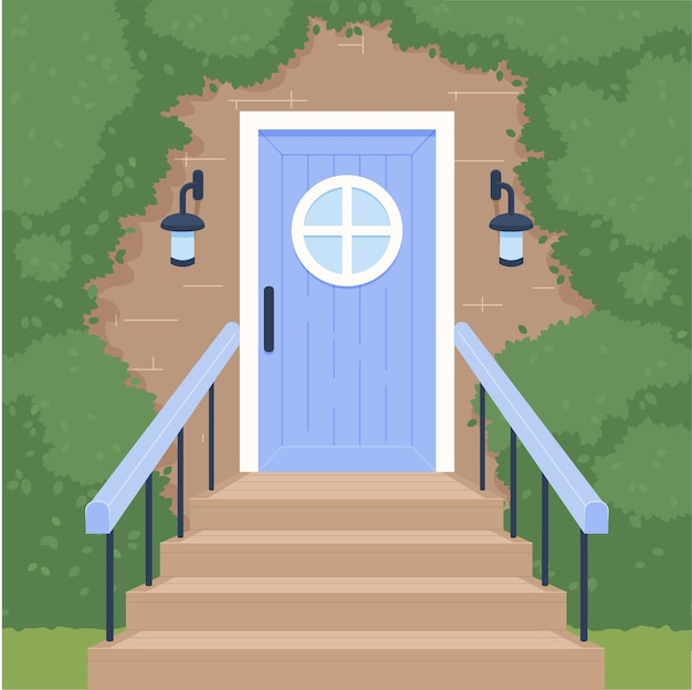 Deur en trappen vectorillustratie in cartoon-stijl