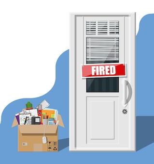 Deur met gestookte woordplaat en kartonnen doos met kantoorartikelen. werving en werving. human resources management concept zoeken professioneel personeel werk. platte vectorillustratie