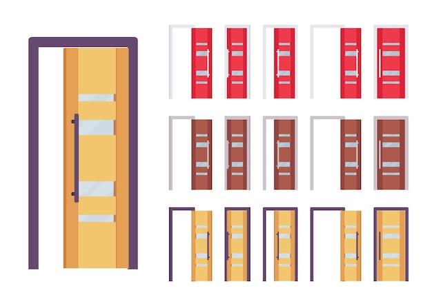 Deuren moderne set, ingang naar gebouw, kamer