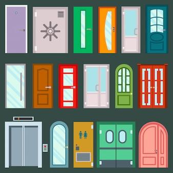 Deuren ontwerpen meubelelementen deuropening vooringang van woningbouw in vlakke stijl deur illustratie geïsoleerd op de achtergrond. huis elementen