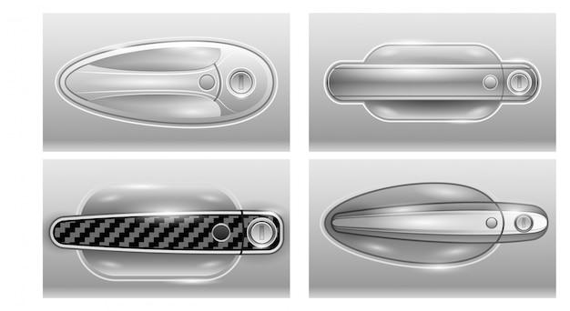 Deurklink van auto realistisch ingesteld pictogram.