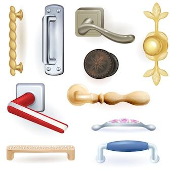 Deurknop vector deurknop om deuren thuis te vergrendelen en metalen deurkruk in huis interieur illustratie set
