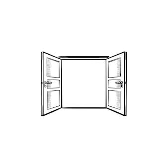Deuropening hand getrokken schets doodle pictogram. geopende deur schets vectorillustratie voor print, web, mobiel en infographics geïsoleerd op een witte achtergrond.
