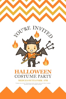 Devil halloween-uitnodigingskaart voor het beeldverhaal van de kostuumpartij