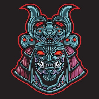 Devil samurai head esport logo illustration