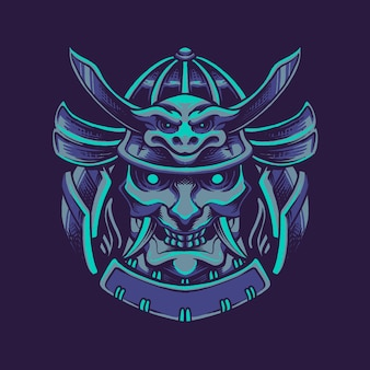 Devil samurai mask illustratie