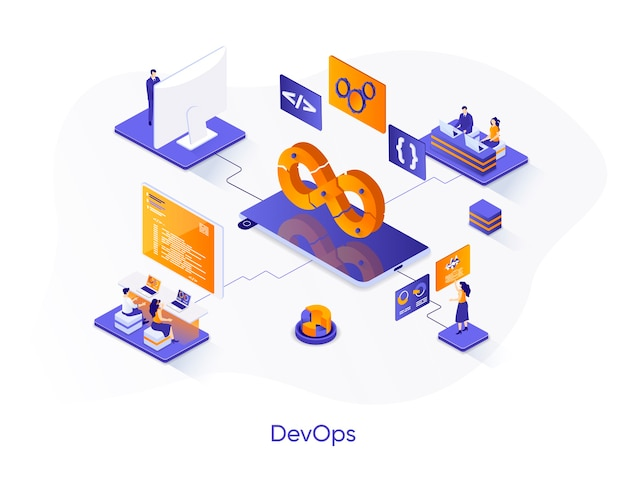 Devops isometrische illustratie met personagekarakters