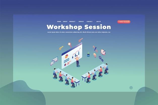 Deze mensen studeren in een webpagina van een workshop sessie koptekst bestemmingspagina sjabloon illustratie