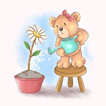 Deze schattige teddybeer geeft zonnebloemen water en dit ontwerp maakt gebruik van een vector-aquarelstijl