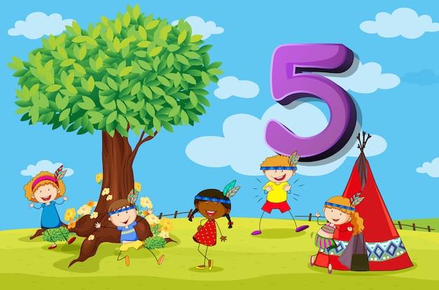 Dflashcard-nummer met vijf kinderen in het park