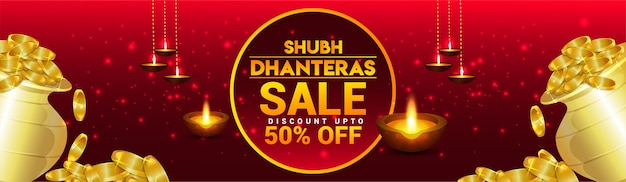 Dhanteras verkoop bannerontwerp met gouden muntpotten