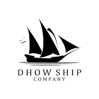Dhow ship-logo met drie zeilen die in de wind waaien